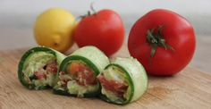 Cucumber Guacamole Rolls Why not try packaging guacamole differently? Instead of having it as a dip with tortilla chips, enjoy it as a quick, sushi-like snack. This recipe satisfies hunger in a low-carb, highly nutritious way. via Greatist