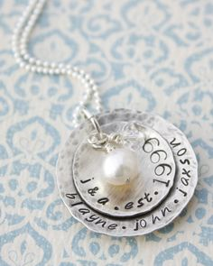 Hand Stamped Jewelry Personalized Rustic Sterling Silver Family Necklace with Pearl and Crystal Charms Christmas by MeaningfulMemory on Etsy https://www.etsy.com/listing/83279855/hand-stamped-jewelry-personalized-rustic