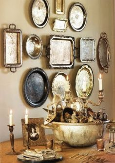 Vintage silver trays. There are always tons of these in silver plate at thrift stores. I love this for the dining room and how they, being mirror-like, would softly reflect the chandelier light.