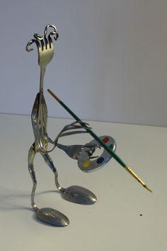 Spoonman Artist Painter #forksamurai #spoonninja #upcycled #silverware