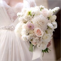 White and pale pink bouquet curated by Francis Flowers. #weddingchicks #wchappyhour http://www.weddingchicks.com/2014/07/30/wedding-chicks-happy-hour-33/