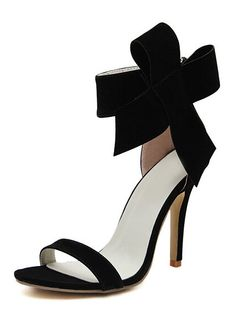 Black With Bow Back Zipper High Heeled Sandals 31.93
