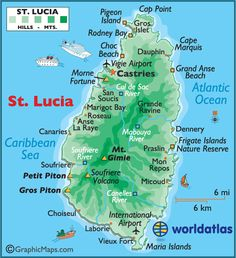 St. Lucia - covers a land area of 238.23 sq mi, has a population of 174,000. Its capital is Castries.