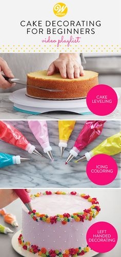 It's easy to see when a cake decorating job is well done, with impressive finishing touches and cake decorating techniques such as perfect roses, borders or fondant accents. Here you will get a step-by-step rundown of the essential prep work and cake Cakes To Make, How To Make Cake, Wilton Cakes, Cake Decorating For Beginners, Cake Decorating Videos, Wilton Decorating Tips, Decorating Jobs, Cookie Decorating, Cake Decorating Tips