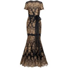 CAROLINA HERRERA Gold Lace Gown ($7,160) ❤ liked on Polyvore featuring dresses, gowns, long dress, vestidos, платья, women, gold evening gowns, brown lace dress, gold gown and long gold dress