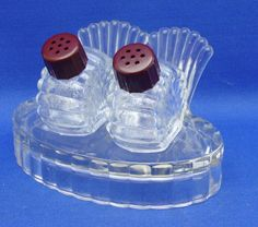 Glass Salt & Pepper Set Tray Brown Caps Turkey Vintage