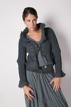 avant-garde short jacket with high collar