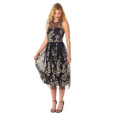 Women's Indication Floral Lace Illusion Fit & Flare Dress