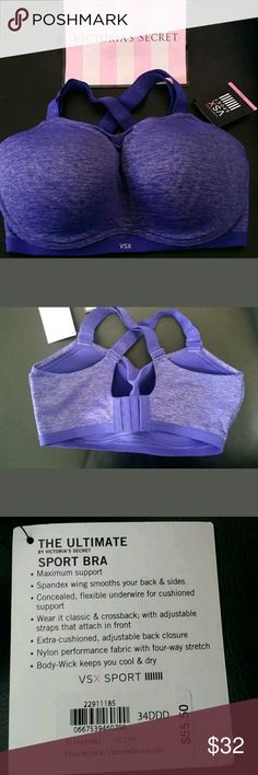 The Ultimate Sports Bra by Victoria's Secret 34DDD Victoria's Secret VSX   The Ultimate Series Sports bra  w/ optional ways to wear.   Can be worn traditional or racer back!   size 34DDD   ? maximum support  ? Body-wick keeps you cool and dry Victoria's Secret Intimates & Sleepwear Bras