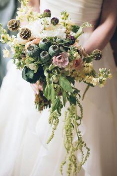 pretty green wedding bouquets for a fall wedding