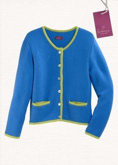 Trachten-Strickjacke, blau, 100% Lambswool  www.heidekoenigin.de