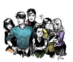Batkids. Dick Grayson, Jason Todd, Tim Drake, Stephanie Brown, Cassandra Kane, & Damian Wayne.