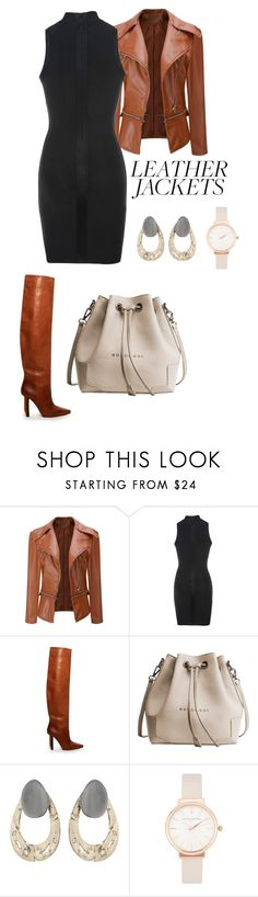 """""""Untitled #2563"""" by nadia-n-pow ❤ liked on Polyvore featuring WithChic, Vetements, Alexis Bittar, Olivia Burton and leatherjackets"""
