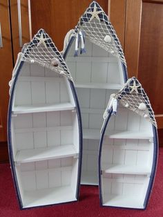 SET OF THREE BLUE & WHITE WOODEN BOAT SHAPED SHELVES NAUTICAL CHIC N SHABBY