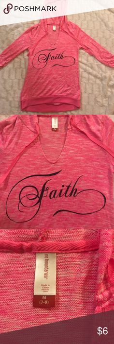 "Medium pink no boundaries shirt Pink no boundaries medium shirt like new ""faith"" is in black sparkly lettering 3/4 sleeve Tops Tees - Long Sleeve"