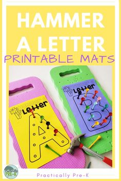 Construction PreK Activity - Construction PreK Activity Hammer a Golf Tee to create letters! Pair these printable letter mats with gold trees and Dollar Tree garden pads and you're ready to construct some fine motor and literacy fun! Letter P Activities, Pre K Activities, Preschool Literacy Activities, Sensory Activities, Fine Motor Activities For Kids, Motor Skills Activities, Preschool Writing, Preschool Letters, Creative Curriculum