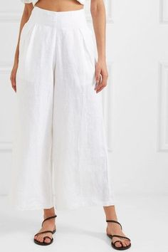 Faithfull The Brand Meridian Cropped Linen Wide-leg Pants - White , Hot Weather Outfits, Vintage Formal Dresses, Braided Sandals, Wide Leg Linen Pants, Faithfull The Brand, Ancient Greek Sandals, Denim Cutoffs, Summer Trends, Outfit Posts