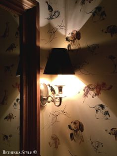 Farmhouse ~ Powder Room ~ Grosvenor House Sconce by Circa Lighting ~ St Hubert Dog Print Wallpaper by Pierre Frey ~ Pine Mirror Farmhouse Renovation, Circa Lighting, Pierre Frey, Print Wallpaper, Powder Room, Pine, Basement, Sconces, Wall Lights