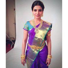 Samantha Prabhu in Pacchi Mango Mala - Indian Jewellery Designs Indian Bridal Sarees, Wedding Silk Saree, Hijab Outfit, Deepika Padukone, Sonam Kapoor, Indian Dresses, Indian Outfits, Mango Mala Designs, Mango Mala Jewellery