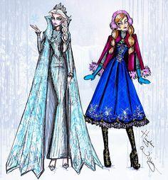 #Hayden Williams Fashion Illustrations #Disney Divas 'Holiday' collection by Hayden Williams: Elsa & Anna