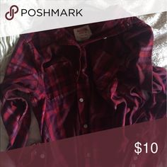 Mossimo Red and Purple Boyfriend-Style Flannel Has been washed a few times but is still in wonderful condition. Fits big, great for wearing over a tank top or undershirt. Mossimo Supply Co Tops Button Down Shirts