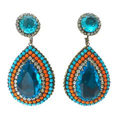 Vintage 1960's Old 'K.J.L.' KENNETH J. LANE EARRINGS   From a unique collection of vintage clip-on earrings at https://www.1stdibs.com/jewelry/earrings/clip-on-earrings/