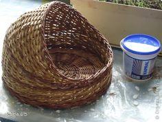 Поделка изделие Плетение Начало МК кискиного домика остальное по мере плетения Трубочки бумажные фото 17