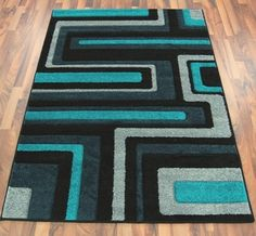 Grey And Teal Rug