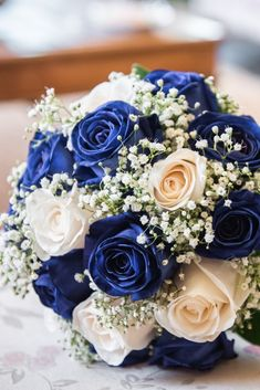 Royal Blue Bouquet, Blue Flowers Bouquet, Gold Bouquet, Blue Wedding Flowers, Bride Bouquets, Bridal Flowers, Flower Bouquet Wedding, Wedding Colors, Blue Wedding Decorations
