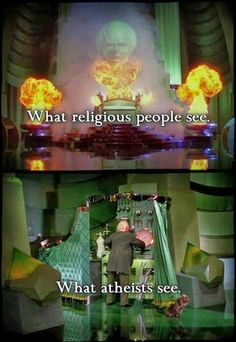 Atheism, Religion, God is Imaginary. What religious people see. What atheists see. Atheist Humor, Atheist Quotes, Religion Humor, Atheist Agnostic, Secular Humanism, Religious People, Religious Jokes, Anti Religion, Thought Provoking