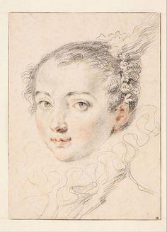 Portrait of a Young Woman, Jean Antoine Watteau, c. 1715 | Museum Boijmans Van Beuningen