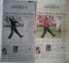 2005 MASTERS TIGER WOODS  PRINTING PLATE & SPORTS SECTION #PGA #Golf #BritishOpen #TigerWoods #LATIMES #PrintingPlate #PressPlate