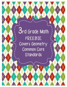 FREEBIE: 3rd Grade Common Core Standards Math Geometry