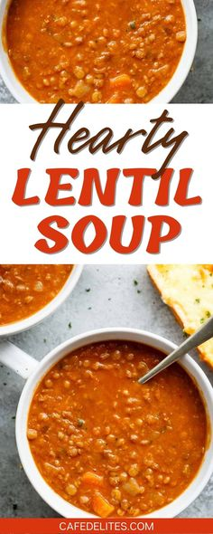 A classic lentil soup recipe to warm your soul! Hearty and filling, this lentil soup is pure comfort in a bowl! Naturally thick and loaded with veggies, this lentil soup is so simple to make. Just dump ingredients into a pot and let the stove do the cooking for you! Real Food Recipes, Yummy Food, Tasty, Healthy Soups, Healthy Recipes, Healthy Life, Easy Dinner Recipes, Easy Meals, Lentil Soup Recipes