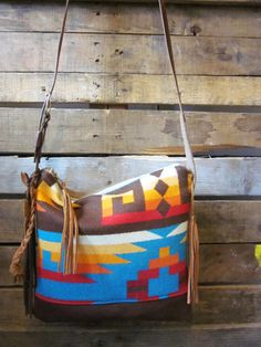 Brown, teal and red Aztec print Pendleton Wool purse with leather bottom  / Boho purse with leather fringe accents