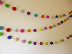 Felt Ball Garland Multi Coloured Party by AzaleaCottageCrafts, $28.00