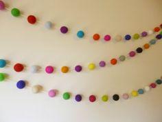 Felt Ball Garland Multi Coloured Party by AzaleaCottageCrafts, $28.00