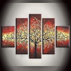 Ζωγραφισμένα στο χέρι ελαιογραφία Φύλλα πολύχρωμο δέντρο Rich Περίληψη Πίνακες με Τεντωμένο Frame Σετ των 5 – EUR € 103.14
