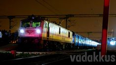 The Mighty WAP7 and the Colors of the Night! RPM WAP7 30367 with the 16210 Chennai - Bangalore Intercity at night