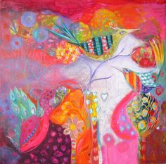 Original mixed media canvas painting Hot Birds by jessicastride, $145.00