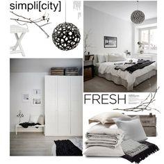 Bedroom decor by magdafunk on Polyvore featuring interior, interiors, interior design, home, home decor, interior decorating, Safavieh, David Trubridge, Coyuchi and Jaipur