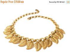 Gold Tone Filigree Leaf Choker Necklace Charm by Vintageimagine