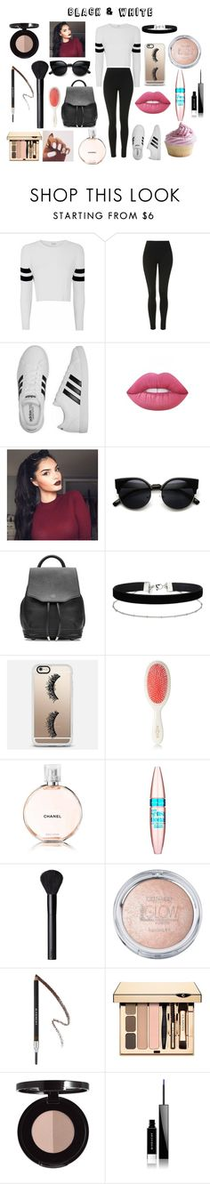 """""""Black & White"""" by xxcarosuelxx ❤ liked on Polyvore featuring Glamorous, Topshop, adidas, Lime Crime, rag & bone, Miss Selfridge, Casetify, Mason Pearson, Chanel and Maybelline"""