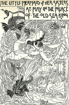 The Little Mermaid and her sisters at play in the palace of the old Sea King. What A Wonderful World, Mermaid Illustration, Illustration Art, Tarot, Vintage Mermaid, Coloring Book Pages, Under The Sea, The Little Mermaid, Line Art