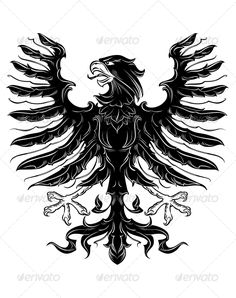 Black Heraldic Eagle #GraphicRiver Black heraldic eagle in retro royal style. Editable EPS8 (you can use any of your vector program) and JPEG (can edit in any graphic editor) files are included SPORTS MASCOTS MEDICINE FOOD LABELS WEDDING DESIGN ELEMENTS FLORAL OBJECTS WEB ICONS ANIMALS Created: 11July13 GraphicsFilesIncluded: JPGImage #VectorEPS Layered: No MinimumAdobeCSVersion: CS Tags: abstract #animal #beak #bird #black #claw #courage #design #eagle #element #emblem #falcon #feather…