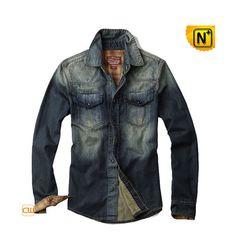 f32ffda5cb Men s Denim Shirt   Distressed Denim Shirt Blue by cwmallsshop