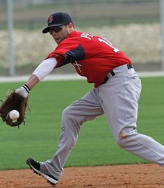 Dustin Pedroia at first full day of Spring Training.