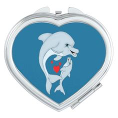 Motherly Dolphin Love Heart Compact Mirror