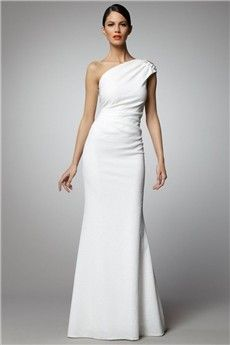 Sheath/Column One Shoulder Floor-length Elastic Woven Satin Evening Dress