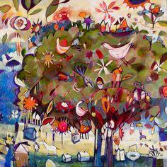 "Diane Culhane Big Tree 45""x45""x1.5 acrylics on canvas www.dianeculhaneart.com"